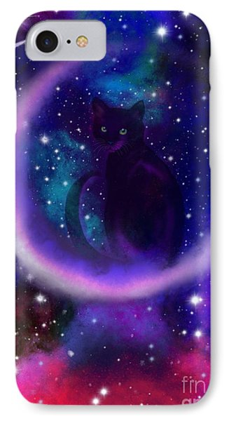 IPhone Case featuring the painting Celestial Crescent Moon Cat  by Nick Gustafson
