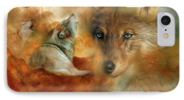 IPhone Case featuring the mixed media Celestial Wolves 3 by Carol Cavalaris