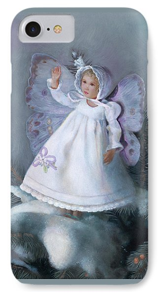 IPhone Case featuring the painting Celestine Snow Fairy by Nancy Lee Moran