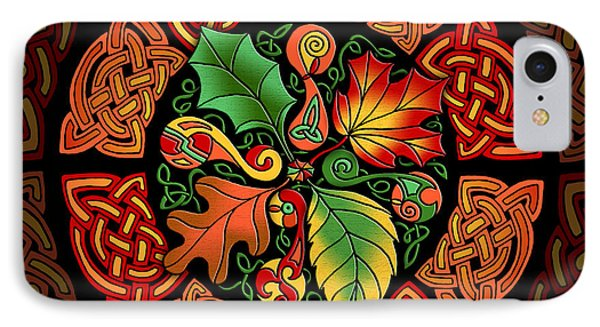 IPhone Case featuring the mixed media Celtic Autumn Leaves by Kristen Fox