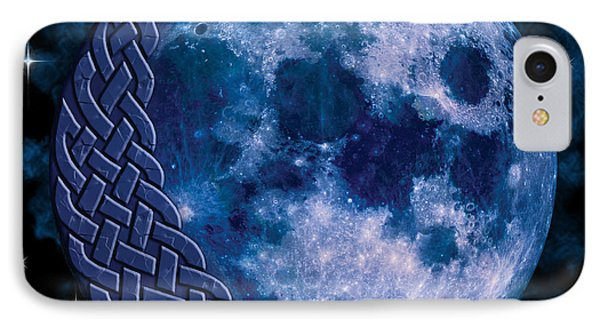 IPhone Case featuring the mixed media Celtic Blue Moon by Kristen Fox