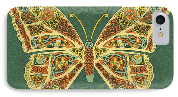 IPhone Case featuring the mixed media Celtic Butterfly by Kristen Fox