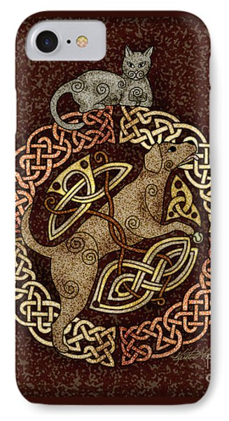 Celtic Cat And Dog IPhone Case by Kristen Fox