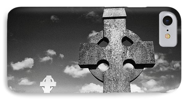 Celtic Crosses In A Rural Irish Graveyard In Tydavnet County Monaghan Republic Of Ireland IPhone Case by Joe Fox