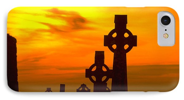 Celtic Crosses In Graveyard IPhone Case by Carl Purcell