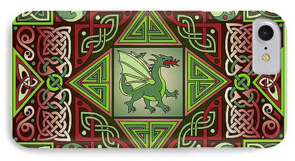 IPhone Case featuring the mixed media Celtic Dragon Labyrinth by Kristen Fox