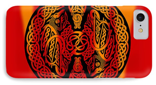 IPhone Case featuring the mixed media Celtic Dragons Fire by Kristen Fox