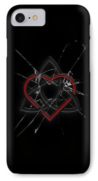 IPhone Case featuring the digital art Celtic Knotwork Valentine Heart Broken Glass 1 by Brian Carson