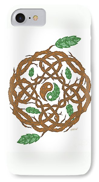Celtic Nature Yin Yang IPhone Case by Kristen Fox