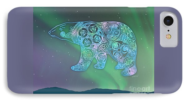 Celtic Polar Bear IPhone Case by Kristen Fox