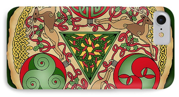 IPhone Case featuring the mixed media Celtic Reindeer Shield by Kristen Fox
