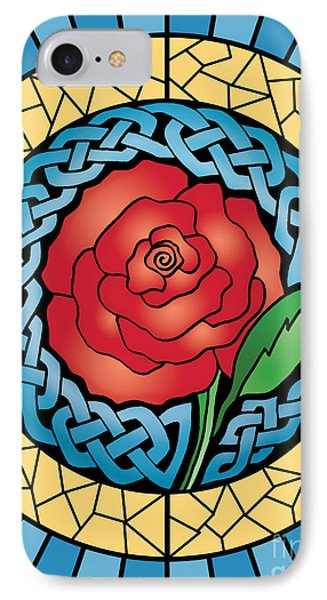IPhone Case featuring the mixed media Celtic Rose Stained Glass by Kristen Fox
