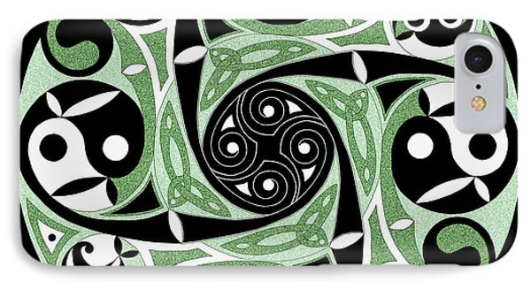 IPhone Case featuring the mixed media Celtic Spiral Stepping Stone by Kristen Fox