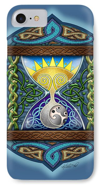 IPhone Case featuring the mixed media Celtic Sun Moon Hourglass by Kristen Fox