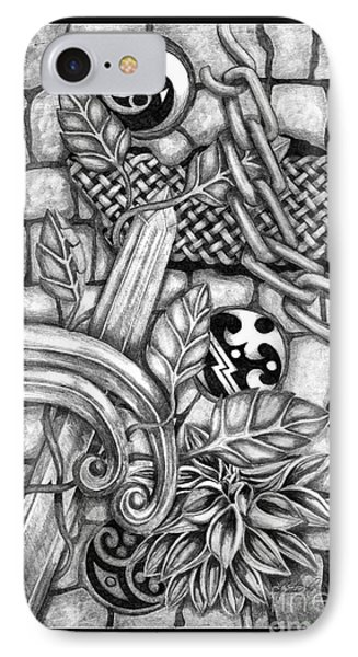 IPhone Case featuring the drawing Celtic Surreality by Kristen Fox