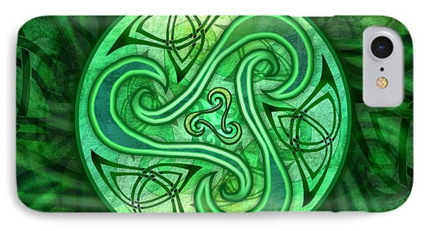 IPhone Case featuring the mixed media Celtic Triskele by Kristen Fox