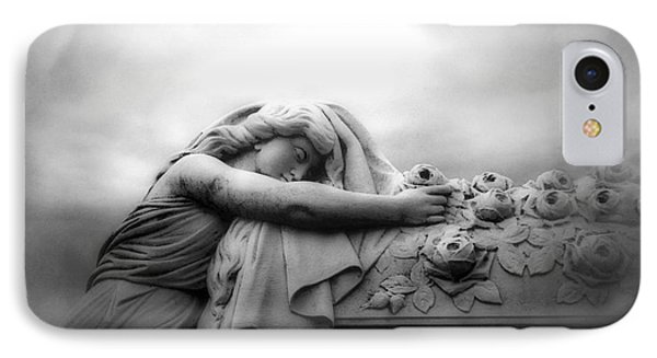 IPhone Case featuring the photograph Cemetery Grave Mourner Black White Surreal Coffin Grave Art - Angel Mourner Across Rose Coffin by Kathy Fornal