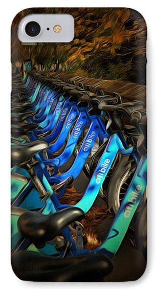 IPhone Case featuring the mixed media Central Park Bikes by Trish Tritz