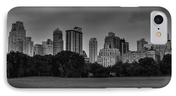 IPhone Case featuring the photograph Central Park Skyline Pano 001 Bw by Lance Vaughn