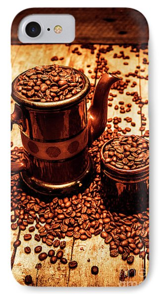 Ceramic Coffee Pot And Mug Overflowing With Beans IPhone Case by Jorgo Photography - Wall Art Gallery