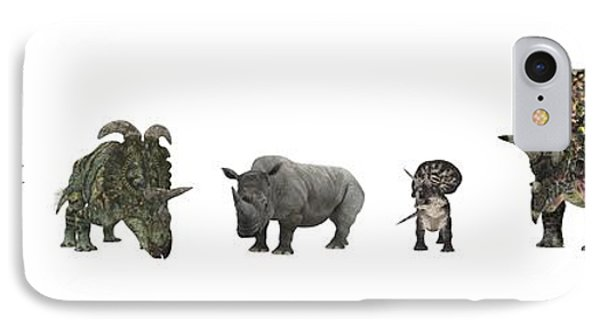 Cerapod Dinosaurs Compared To A Rhino Phone Case by Walter Myers