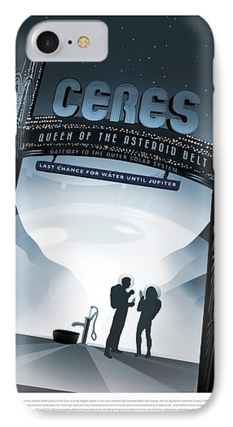 Ceres Queen Of The Asteroid Belt - Vintage Nasa Poster IPhone Case by Mark Kiver