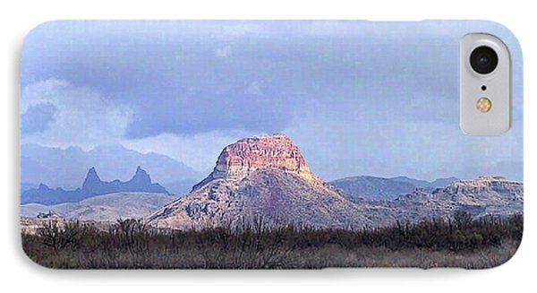 IPhone Case featuring the painting Cerro Castellan And Mule Ears  by Dennis Ciscel