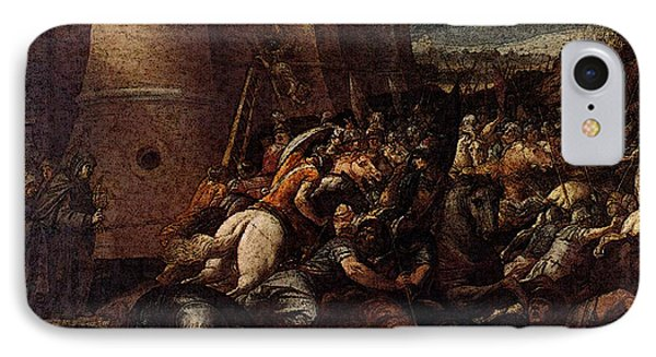 Cesari Giuseppe St Clare With The Scene Of The Siege Of Assisi IPhone Case by Giuseppe Cesari