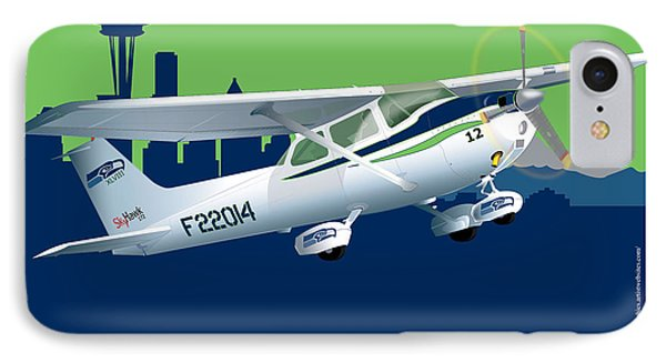 IPhone Case featuring the drawing Cessna Skyhawk 172 by Kenneth De Tore