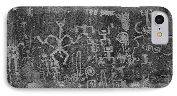IPhone Case featuring the photograph Chaco Canyon Petroglyphs Black And White by Adam Jewell