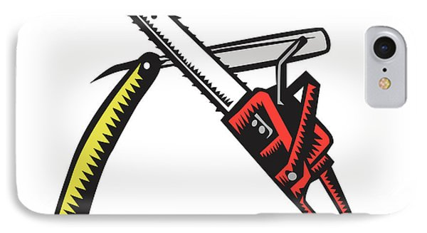 Chainsaw Straight Razor Crossed Woodcut IPhone Case