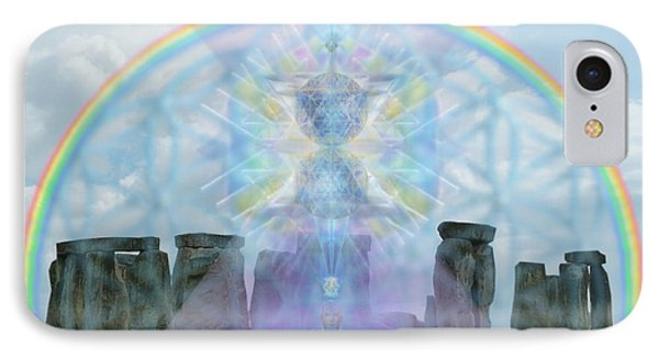 Chalice Over Stonehenge In Flower Of Life And Man Phone Case by Christopher Pringer