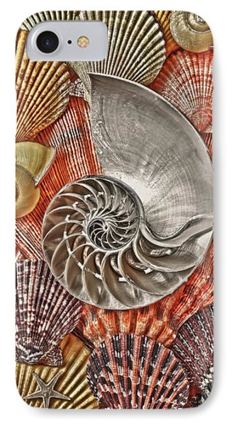 Chambered Nautilus Shell Abstract Phone Case by Garry Gay