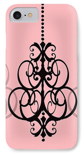 Chandelier Delight 1- Pink Background IPhone Case by KayeCee Spain