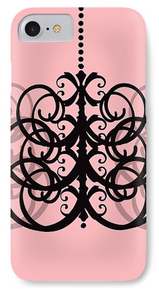 IPhone Case featuring the photograph Chandelier Delight 2- Pink Background by KayeCee Spain