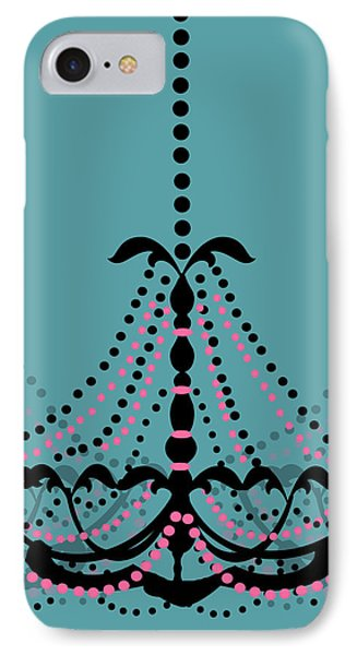 Chandelier Delight 3- Blue Background IPhone Case by KayeCee Spain