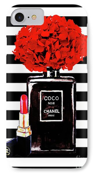 Chanel Poster Chanel Print Chanel Perfume Print Chanel With Red Hydragenia 3 IPhone Case by Del Art