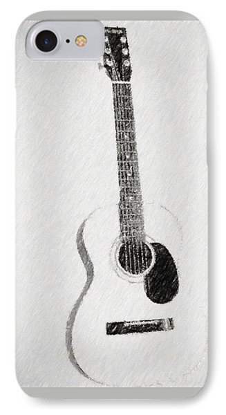 Charcoal Guitar Sketch IPhone Case