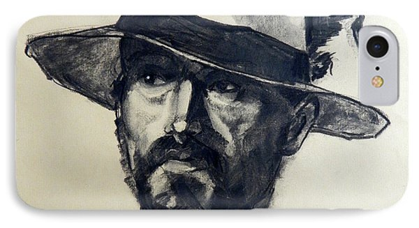 Charcoal Portrait Of A Man Wearing A Summer Hat Phone Case by Greta Corens