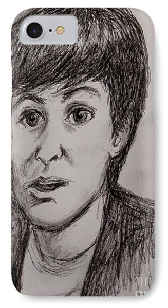 Charcoal Portrait Of Paul Mccartney IPhone Case by Joan-Violet Stretch