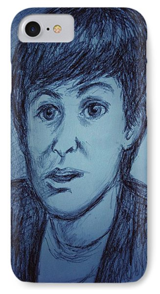 Charcoal Sketch Of Paul Mccartney In Blue IPhone Case by Joan-Violet Stretch