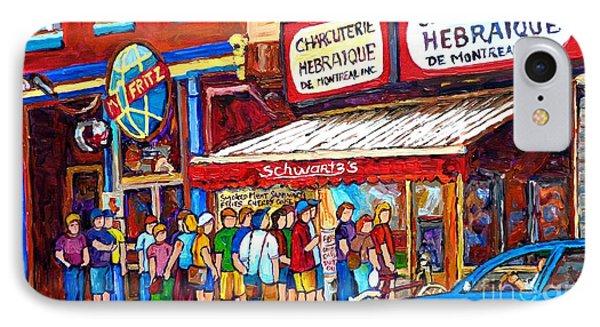 Charcuterie Schwartz Line Up Montreal Summer Scene Painting Rue St Laurent Carole Spandau IPhone Case
