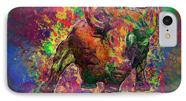 Charging Bull IPhone Case by Jack Zulli