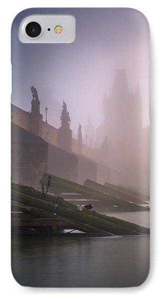 Charles Bridge At Autumn Foggy Day, Prague, Czech Republic IPhone Case