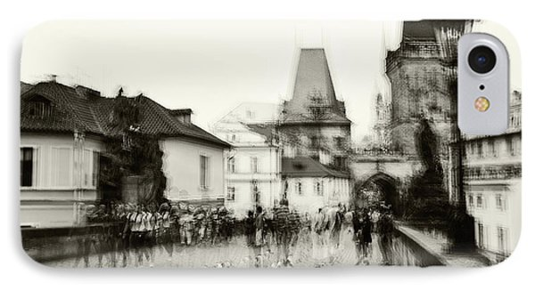 IPhone Case featuring the photograph Charles Bridge. Black And White. Impressionism by Jenny Rainbow