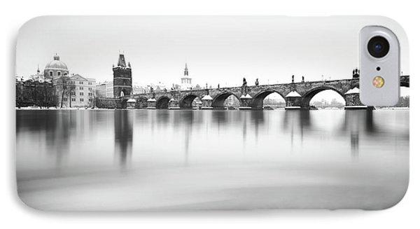 Charles Bridge During Winter Time With Frozen River, Prague, Czech Republic IPhone Case