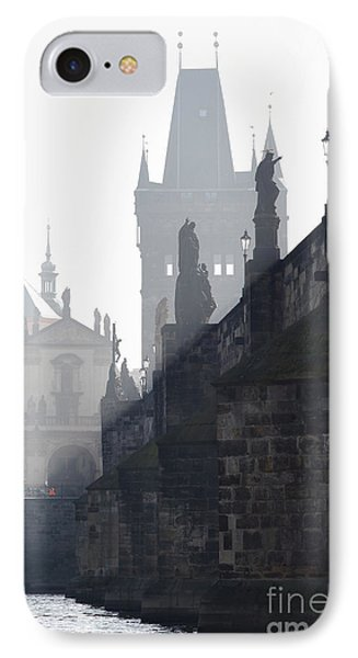 Charles Bridge In The Early Morning Fog Phone Case by Michal Boubin