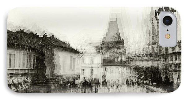 IPhone Case featuring the photograph Charles Bridge Promenade. Black And White. Impressionism by Jenny Rainbow