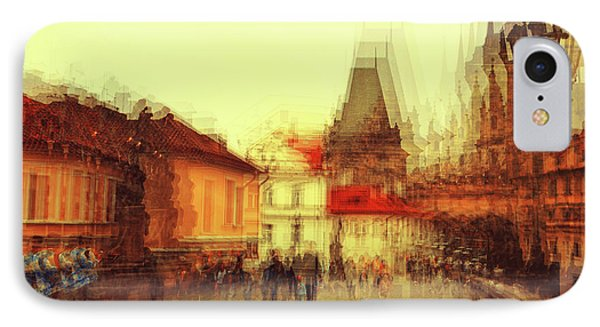 IPhone Case featuring the photograph Charles Bridge Promenade. Golden Prague. Impressionism by Jenny Rainbow