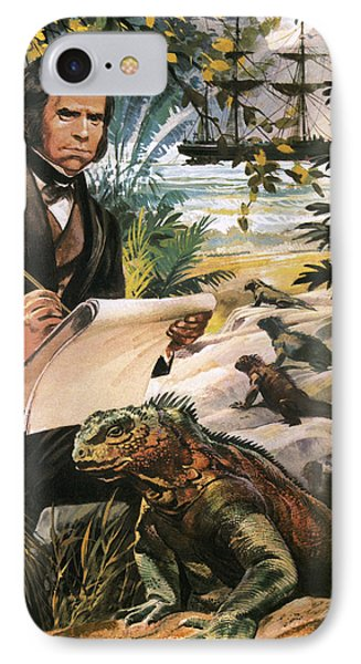 Charles Darwin On The Galapagos Islands IPhone Case by Andrew Howat